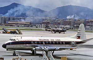 Philippine Airlines - Philippine Airlines Vickers Viscount at Kai Tak Airport in 1961