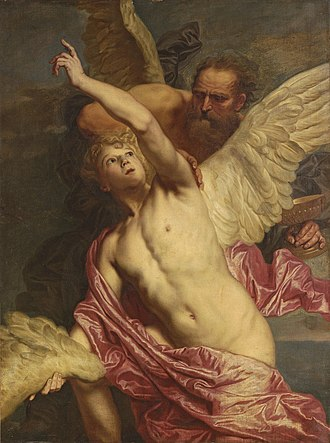 Pieter Thijs - Daedalus fixing wings onto the shoulders of Icarus