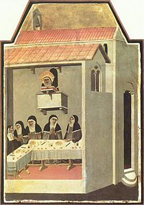 Nuns dining in silence while listening to a Bible reading. Note the use of hand gestures for communicating. Scene from The Life of Blessed Saint Humility by Pietro Lorenzetti, 1341.