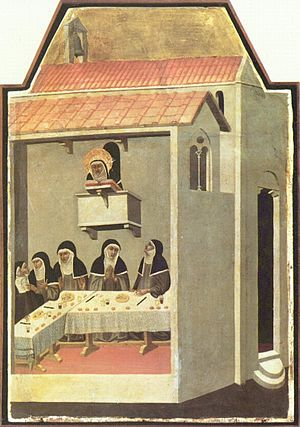 Medieval cuisine - Nuns dining in silence while listening to a Bible reading. Note the use of hand gestures for communicating; The Life of Blessed Saint Humility by Pietro Lorenzetti, 1341.