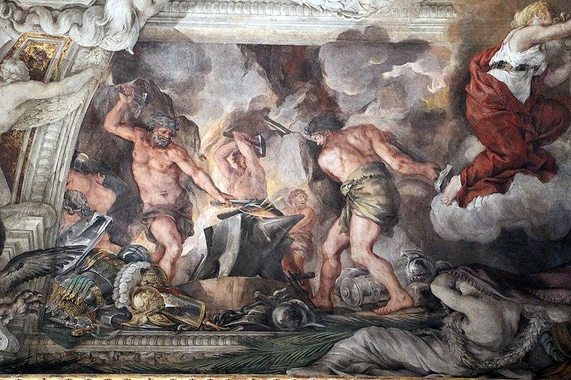 File:Pietro da cortona, Trionfo della Divina Provvidenza, 1632-39, Pace in trono, fucina di vulcano e tempio di giano 01.JPG