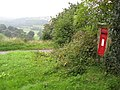 Pilhough - Postbox marks the top of Peak Tor Lane - geograph.org.uk - 959899.jpg