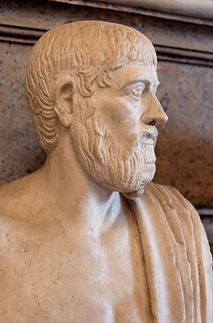 Bust of Pindar. Marble, Roman copy after a Gre...