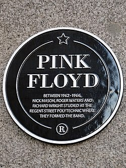 Photo of Pink Floyd, Nick Mason, Roger Waters, and Richard Wright black plaque