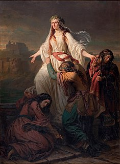 Princess Wanda daughter of Krakus, legendary founder of Kraków; upon her fathers death, she became queen of the Poles, but committed suicide to avoid an unwanted marriage to a German