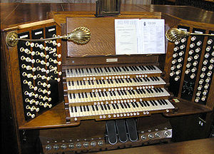 Manual (music) - The organ console in St. Mary Redcliffe church in Bristol, England, with four manuals.