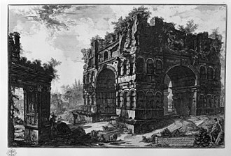 Arch of Janus - The arch as it appeared in the mid-18th century; with its upper stage and fortifications still partly intact.