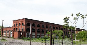 Pittsburgh and Lake Erie Railroad - Pittsburgh and Lake Erie Railroad Locomotive Shops, built in 1903, at the end of Linden Avenue in McKees Rocks, Pennsylvania