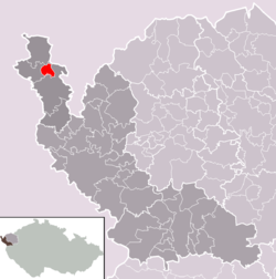 Location of Podhradí municipality within Cheb District and administrative area of Aš as a Municipality with Extended Competence.