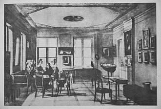Chopin family parlor - A room in the Chopins' Apartment on Krakowskie Przedmieście, by Antoni Kolberg, 1832