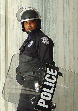 Riot shield - US Federal Protective Service Officer with a riot shield.