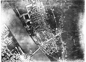 VII Corps Observation Group - Aerial photo of German-held Pont-à-Mousson, France, 3 November 1918. Taken by the 258th Aero Squadron (Corps Observation), VII Corps Observation Group.