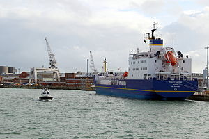 International Nuclear Services - The nuclear transport vessel Pacific Grebe, one of three owned by the INS subsidiary, Pacific Nuclear Transport Limited. Portsmouth, 2012
