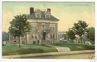 Norwalk Hospital - The hospital pictured in an early 20th-century postcard