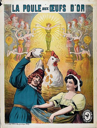 Gaston Velle - Poster by Faria for the film La poule aux oeufs d'or directed by Gaston Velle, 1905. Collection EYE Film Institute Netherlands.