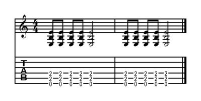 A power chord in E for guitar. This contains the notes E, B (a fifth above) and an E an octave higher. Power-chord-e.png