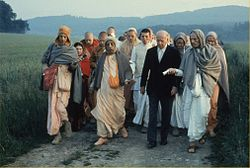 Prabhupada on a morning walk with Baron von Durkheim in Frankfurt.jpg