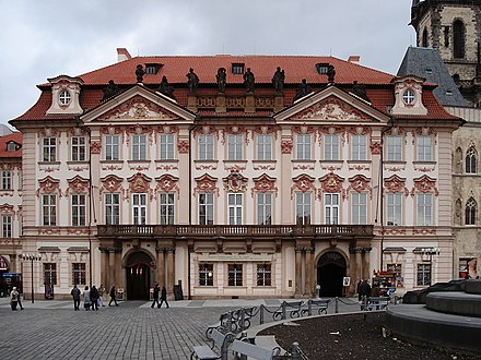 Kinsky Palace where Kafka attended gymnasium and his father owned a shop Prague Palace Kinsky PC.jpg