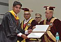 Pranab Mukherjee presenting the degree to a student, at the 2nd Convocation of Indian Institute of Science Education and Research at Bhopal, in Madhya Pradesh. The Governor of Madhya Pradesh.jpg