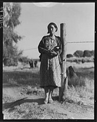 Pregnant migrant woman living in a squatter camp in Kern County CA.jpg