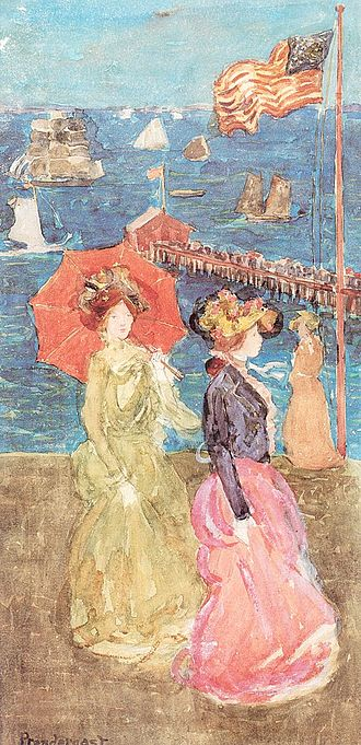 Williams College Museum of Art - Maurice Prendergast, Figures Under the Flag, 1900–1905
