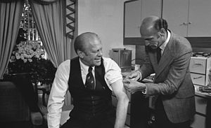 1976 swine flu outbreak - U.S. president Gerald Ford receiving his swine flu vaccination