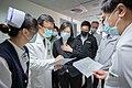 President Tsai Ing-wen listening to briefing at Hualien Tzu Chi General Hospital 20210403.jpg