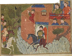 Daylamites - Siege of Alamut 1213-1214, depicted in the Jami' al-tawarikh by Rashid-al-Din Hamadani. Bibliothèque Nationale de France, Département des Manuscrits, Division Orientale.