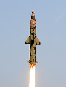 Prithvi-II missile launch on 11 March 2011 (cropped).jpg