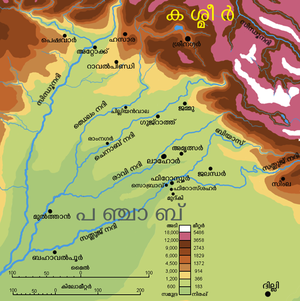 Punjab map (topographic) ml.png