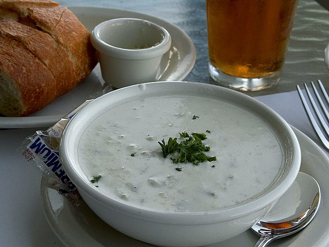 New England clam chowder. Source: https://pdpho...