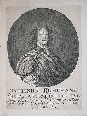 "Quirinus Kuhlmann - 1689 engraved portrait of Quirinus Kuhlmann, described as ""poet, chiliast, and false prophet"""