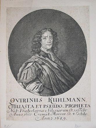 "Quirinus Kuhlmann - 1689 engraved portrait of Quirinus Kuhlmann, described as ""poet, chiliast, and false prophet"""