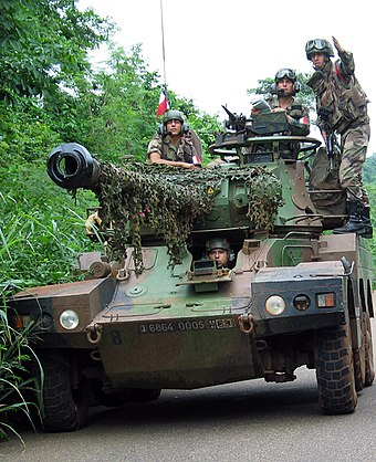 An ERC 90 Sagaie of the 1st Parachute Hussar Regiment in Cote d'Ivoire in 2003 RHP Cote d'ivoire 2003.jpg