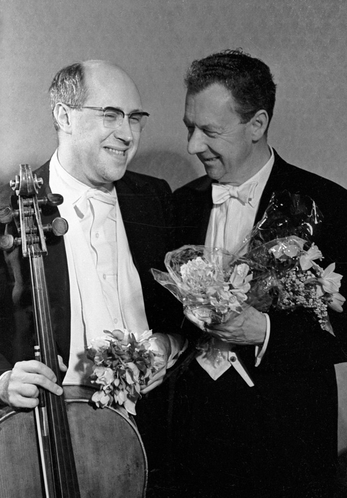 RIAN archive 25562 Mstislav Rostropovich and Benjamin Britten after a concert