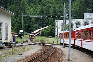 Luzern–Stans–Engelberg railway line - Former start of the rack rail section at Obermatt, now bypassed by the Grafenort to Engelberg Tunnel.