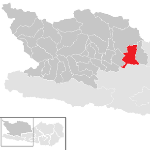 Location of the municipality of Radenthein in the Spittal an der Drau district (clickable map)