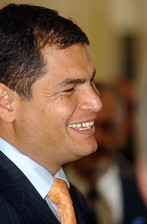 The president of Ecuador, Rafael Correa, in Ri...