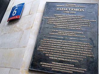 Raphael Lemkin - 2008 plaque commemorating Lemkin's prewar residence, 6 Kredytowa Street, Warsaw, Poland