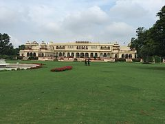 Rambagh Palace view from garden, July 2016.jpg