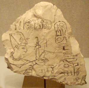 Ostracon- Ramesses IX presenting Maat (Wikipedia)