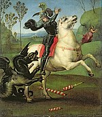 Painting of man in armour on white horse fighting black dragon to his left.
