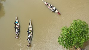 Ratargul Swamp Forest - Tourists travelling on boat in the forest.
