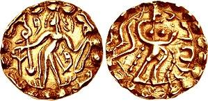 Samatata - Coin of Ratas Sridharanarata of the Samatata dynasty, circa 664-675 CE.
