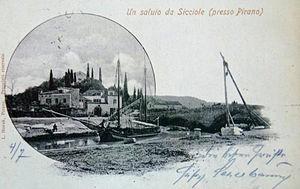 Sečovlje - postcard of Sečovlje (1903)