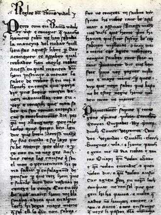 Raimon Vidal de Bezaudun - The Razos de trobar in a Catalan manuscript