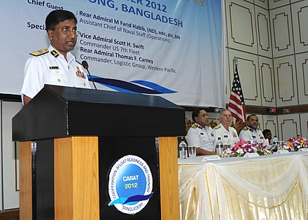 A meeting between the Bangladeshi and US navies in Chittagong Rear Adm.M. Farid Habib, assistant chief of Naval Staff for the Bangladesh Navy 120917-N-WX059-134.jpg