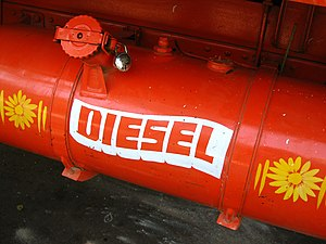A red tank of diesel fuel on a truck in Bombay...