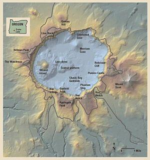 Mapa en relieve del Parque Nacional Lago del C...