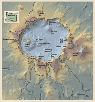 Crater Lake National Park - Relief map of the Crater Lake area